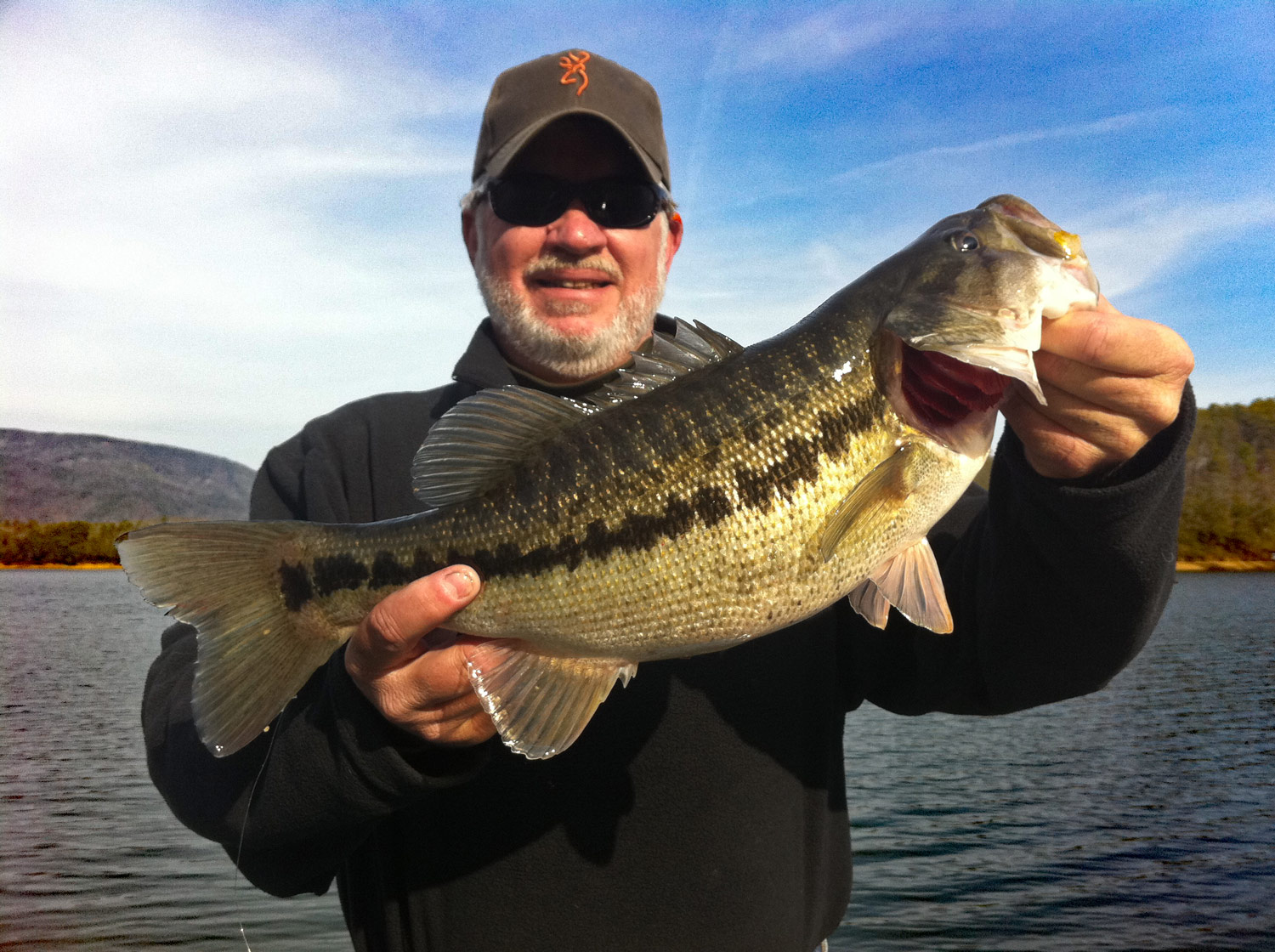 NewsChannel9.com Outdoor Editor Richard Simms with one of the five different species of black bass found in Tennessee. Do you know which one? (Photo: Jim Miller)