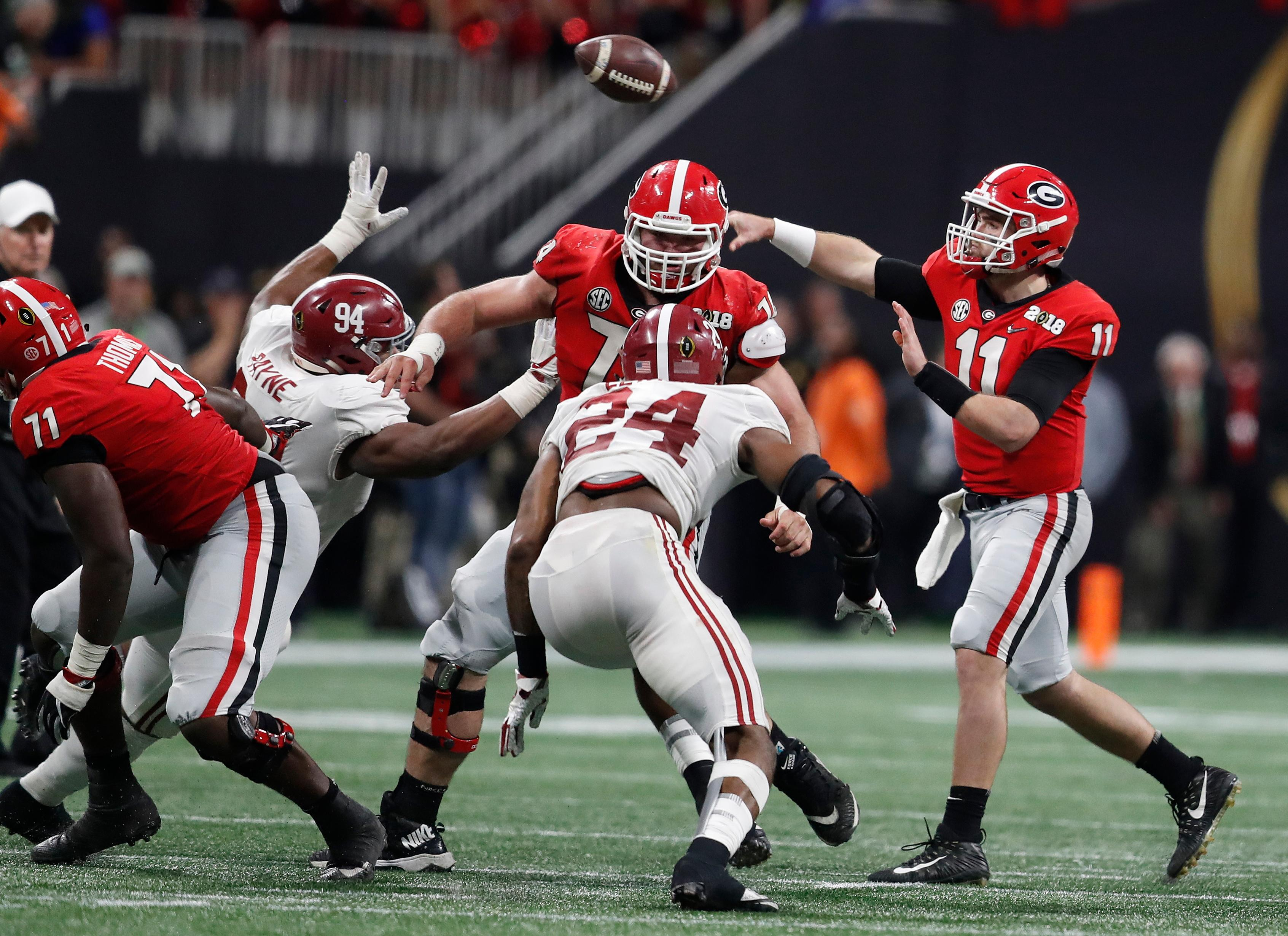 Georgia quarterback Jake Fromm throws during the second half of the NCAA college football playoff championship game Monday, Jan. 8, 2018, in Atlanta. (AP Photo/David Goldman)