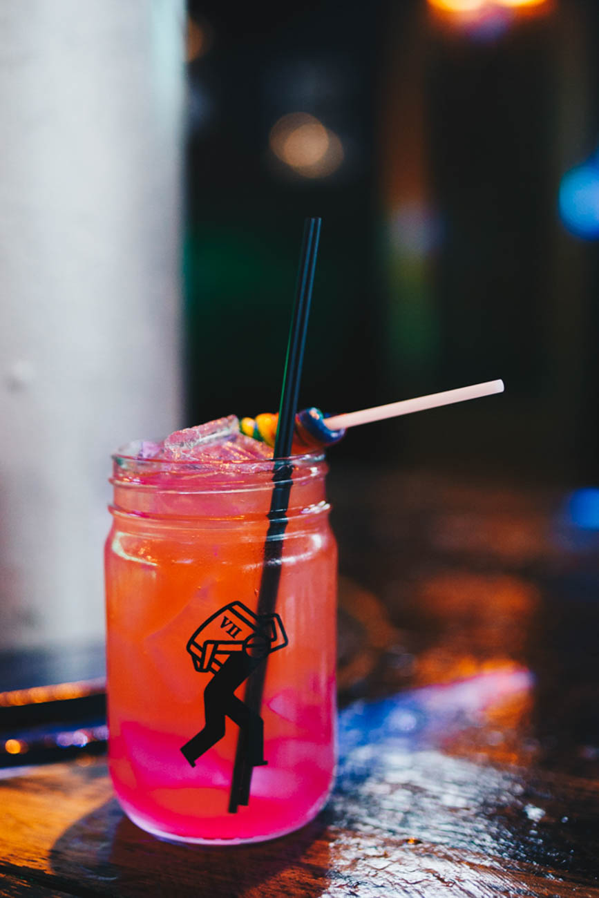 Toucan Twister: 7 Absolut vodka flavors, house fresh orange, lime and lemon juice, splash of soda, and topped with a rainbow sucker / Image: Catherine Viox // Published: 12.24.18