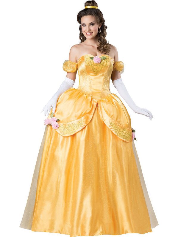 Be the Belle to your sweetie's Beast. This shimmering yellow dress brings beauty alive. (Image: Costume Supercenter)