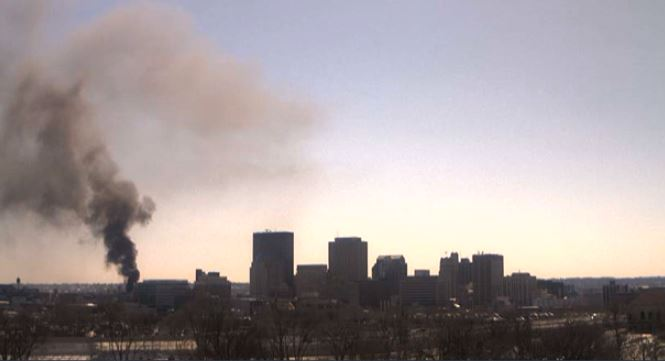 Caresource building under construction in downtown Dayton on fire (WKEF/WRGT)
