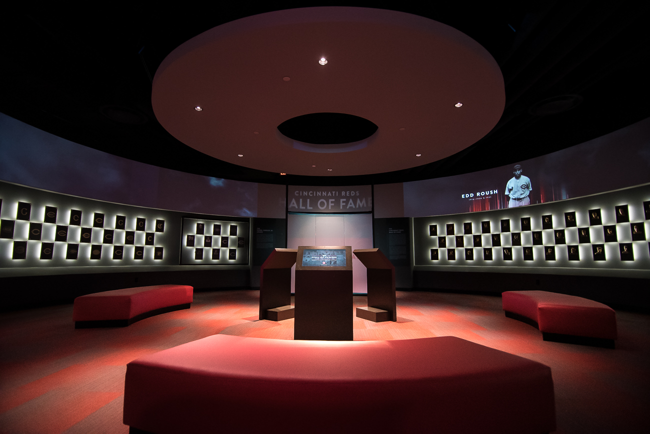 The most notable change to the Hall of Fame Museum is how its Hall of Famers are recognized. A new, 360-degree interactive theater using tasteful, backlit plaques pay respect to a century and a half of players who made the Hall of Fame. An emotional soundtrack plays overhead to elevate and differentiate this particular room from everything else in the museum. / Image: Phil Armstrong, Cincinnati Refined // Published: 4.20.19