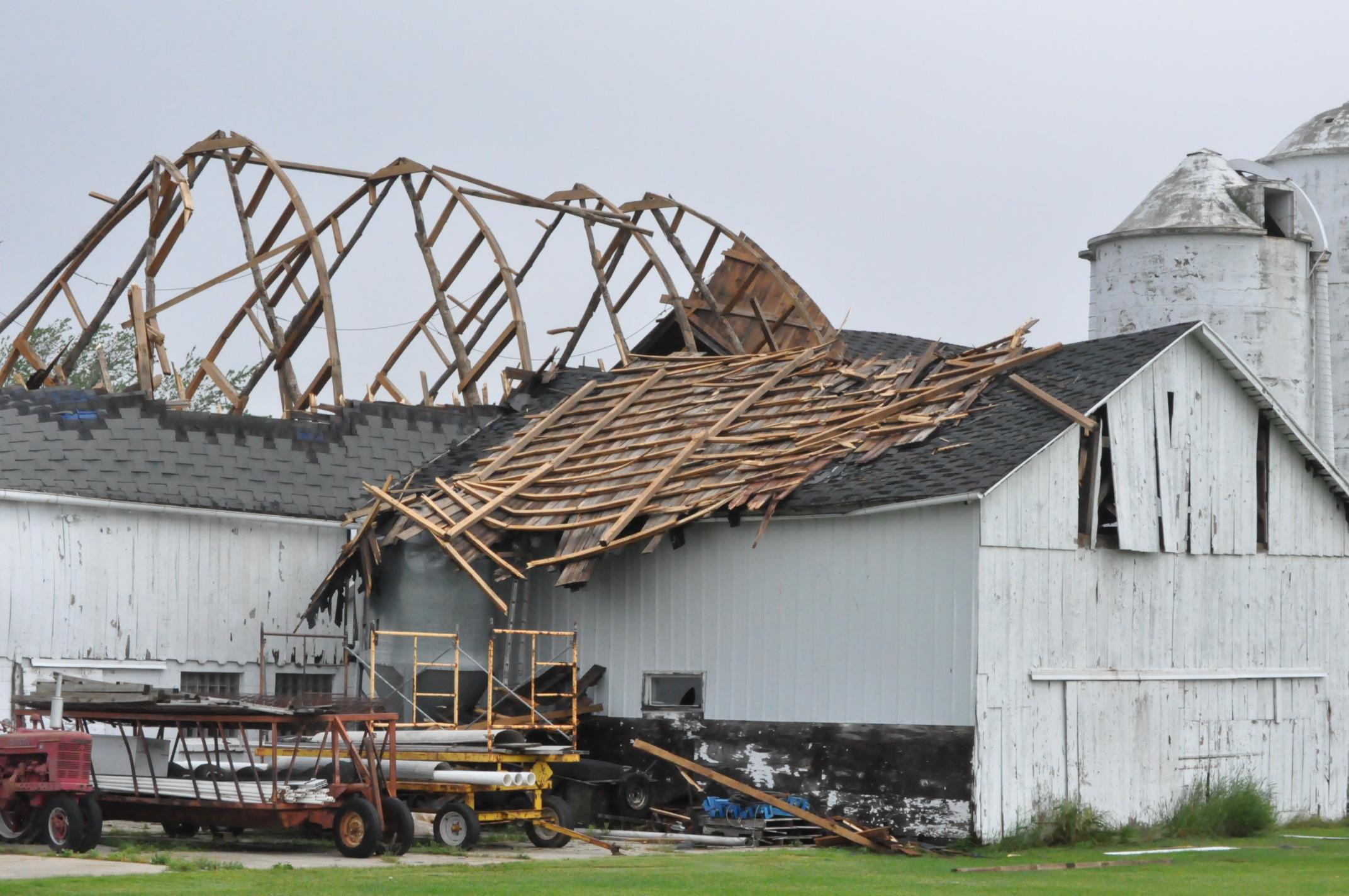 A barn in Angelica shows damage June 15, 2017, resulting from storms the previous night. (WLUK/Jake Swanson)