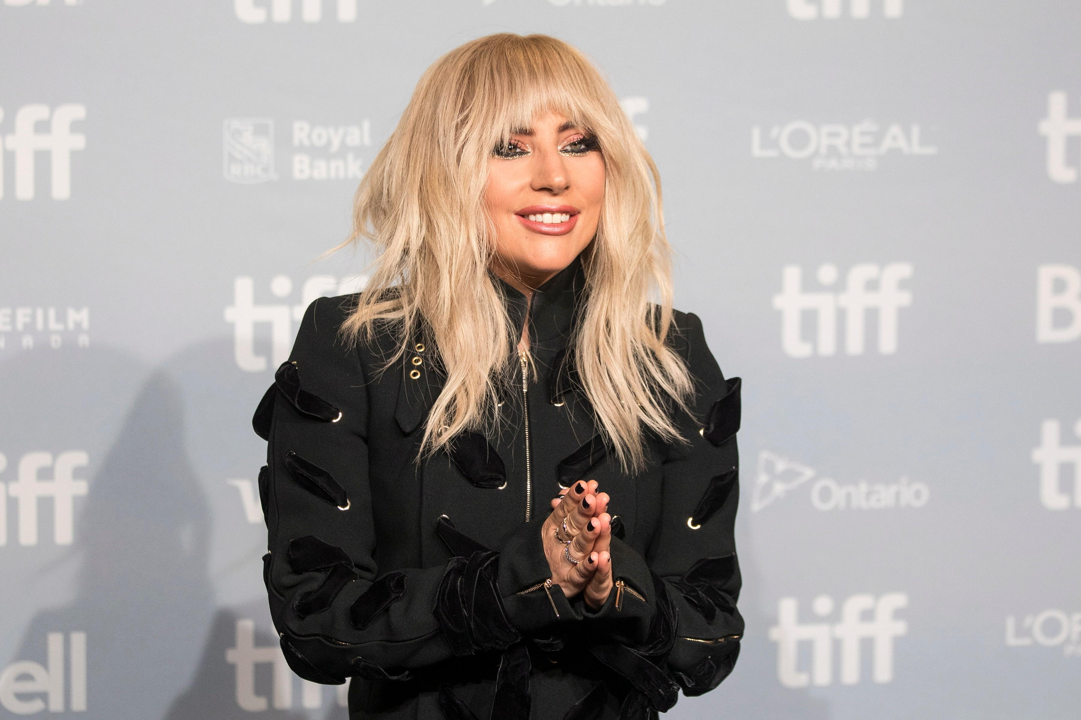 "Lady Gaga appears during a camera call before the press conference for ""Gaga: Five Foot Two"" at the Toronto International Film Festival, in Toronto on Friday, Sept. 8, 2017. (Chris Young/The Canadian Press via AP)"