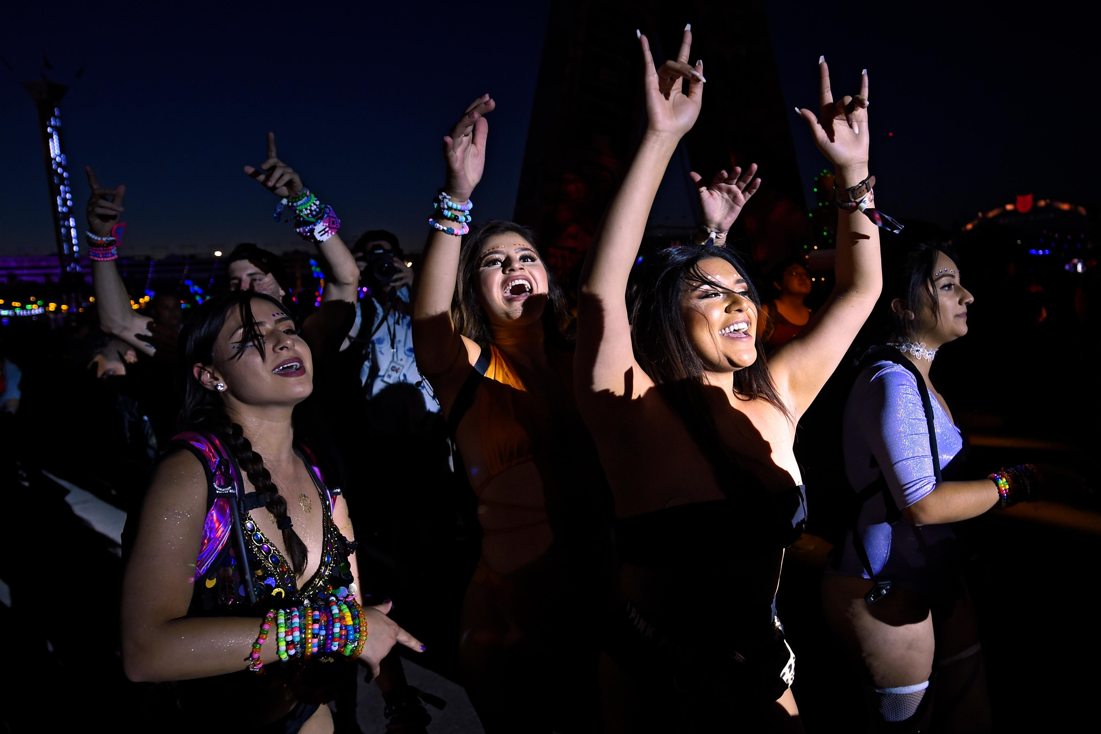Attendees dance during the first night of the Electric Daisy Carnival Friday, June 16, 2017, at the Las Vegas Motor Speedway. (Sam Morris/Las Vegas News Bureau)